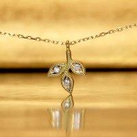 【オリーブ】アンティークオリーブ&ダイヤモンド S ネックレスチャーム K18YG(イエローゴールド)