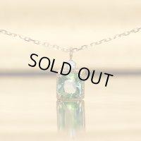 【雪の花】グリーントルマリン&1ダイヤモンド ネックレスチャーム K18CG(シャンパンゴールド)x Pt950h(ハードプラチナ)