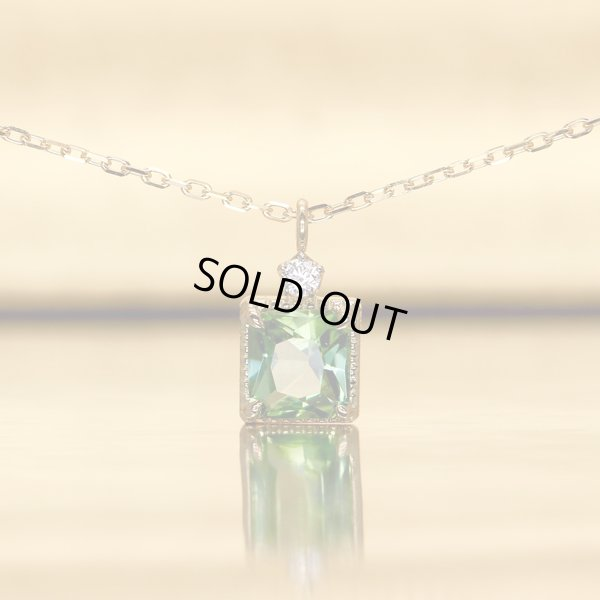 画像1: 【雪の花】グリーントルマリン&1ダイヤモンド ネックレスチャーム K18CG(シャンパンゴールド)x Pt950h(ハードプラチナ)
