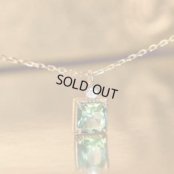 画像2: 【雪の花】グリーントルマリン&1ダイヤモンド ネックレスチャーム K18CG(シャンパンゴールド)x Pt950h(ハードプラチナ)