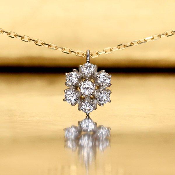 画像1: 【雪の花】ダイヤモンド・ネックレスチャーム Pt950h(プラチナ)