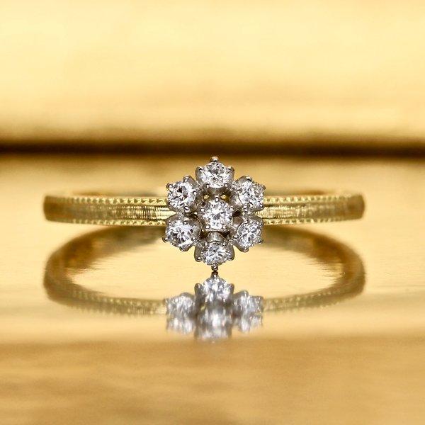 画像1: 【雪の花】ダイヤモンド・リング Pt950h × K18YG(プラチナ × イエローゴールド)